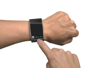 hand with smart watch and finger touch screen