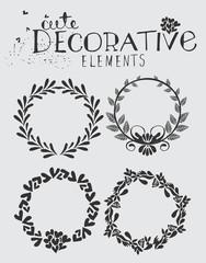 Vintage Wreath with Floral Elements Vector Illustration