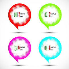 Colorful halftone bubble tag isolated on white