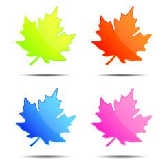 Colorful leaf labels, tags, speech bubbles