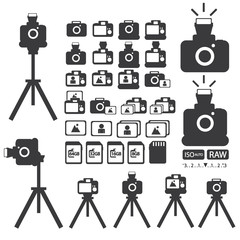 cameras collection icons Vector