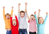 Happy kids with their hands up - 68640987
