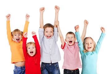 Happy kids with their hands up