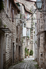 Old Stone Narrow Streets of Trogir, Croatia.