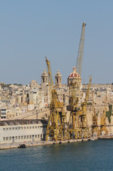 Cargo port and medieval city. Senglea, Valletta, Malta