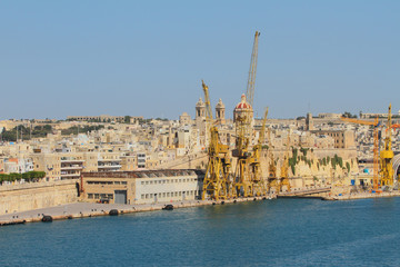 Cargo port in medieval city. Senglea, Valletta, Malta