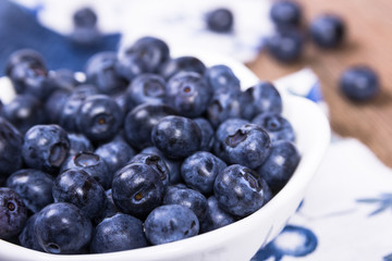 Blueberries in a white ceramic bowl