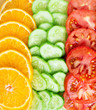 Collection of fruits and vegetables slices