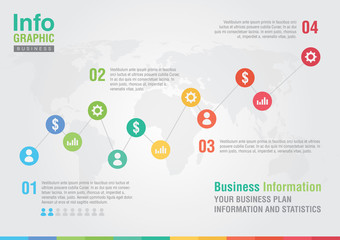 Business line chart infographic. Business report creative market