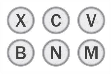 Typewriter Keys XCVBNM