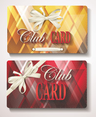 Elegant Club cards with abstract background and white ribbons