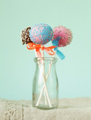 Variety of colorful cake pops - chocolate,vanilla,caramel