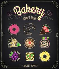 Sweet Bakery Menu. Set on a chalkboard for design in retro style
