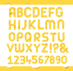 Set of cheese letters