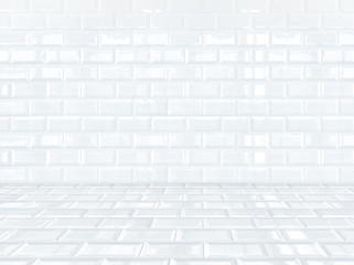 White ceramic brick tile room,background