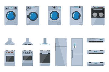 A set of large household appliances