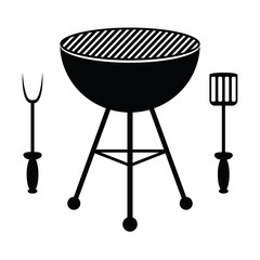 BBQ grill and cutlery