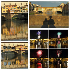 collage with images of Ponte Vecchio in Florence