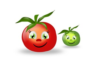 Two cute tomatoes