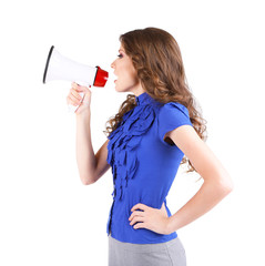 Young business woman with megaphone isolated on white