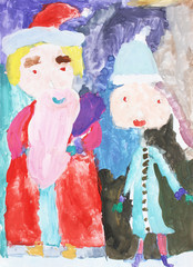 Santa Claus and Snow Maiden with gifts at Christmas