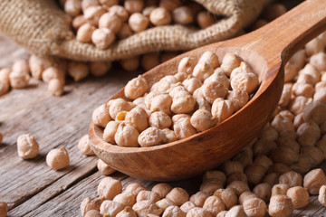 Dry chickpeas close up in a wooden spoon horizontal