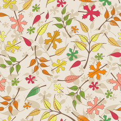 Vector seamless pattern with autumn leaves