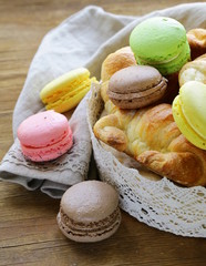 traditional French pastries croissants and macaroons