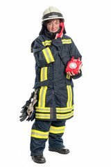 Feuerwehrfrau mit Telefon