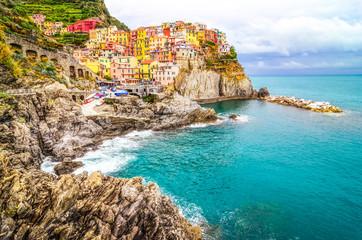 Scenic view of colorful village Manarola in Cinque Terre