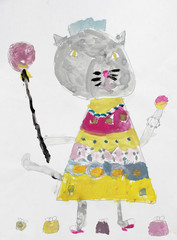 gray cat in a bright dress with dandelion and handbags
