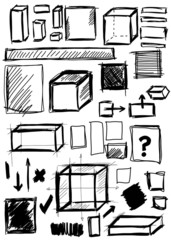 Doodle, set hand drawn shapes square, cube