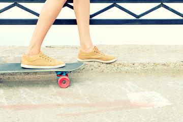 Skateboarder feet instagram style image