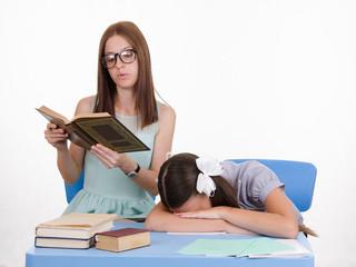 Trainee fell asleep on a boring lesson