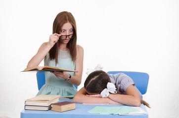 The teacher saw sleeping student