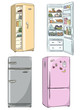 four hand drawn cartoon fridges. open fridge with healthy food
