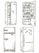set of four hand drawn fridges. open fridge with healthy food. - 68648914