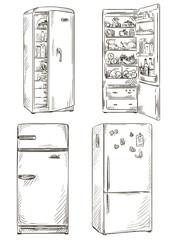 set of four hand drawn fridges. open fridge with healthy food.