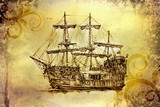 Fototapeta antique boat sea motive drawing handmade