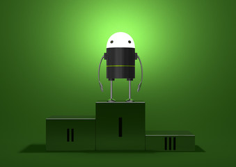 Robot with glowing head on podium