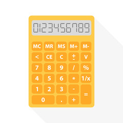 yellow calculator in flat design with long shadow