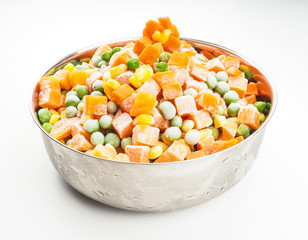 Frozen vegetables, carrots, peas and maize in steel bowl