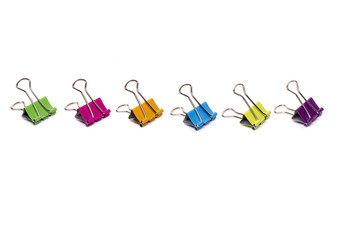 colorful horizontal line of office binder clips