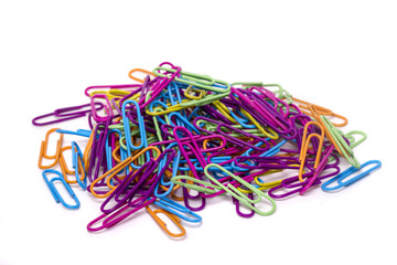 pile of several colorful office paper clips