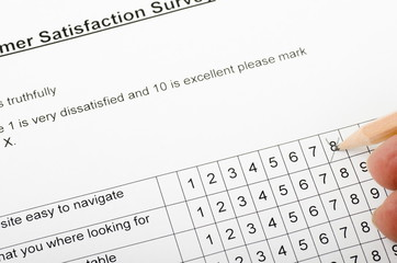Customer Satisfaction Survey, being filled in
