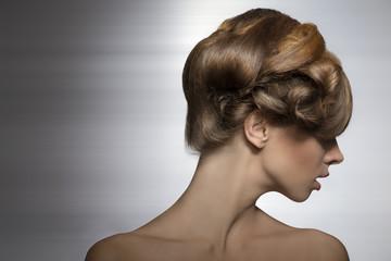 woman with elegant creative hair-