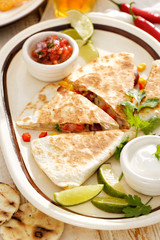 Quesadilla with vegetables. Vegetarian meal