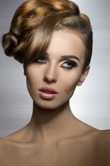 lovely girl with creative hair-style