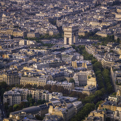 Arch of Triumph sunset aerial view in  Paris