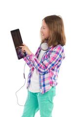 Little girl using a digital tablet.